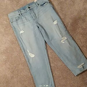 Loft Relaxed Straight Crop jean  light wash